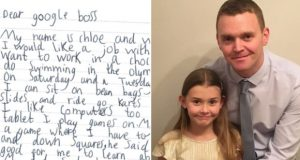 Seven years old girl asks Google for a job