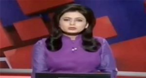 A TV presenter reads out news of her husband's death in car accident