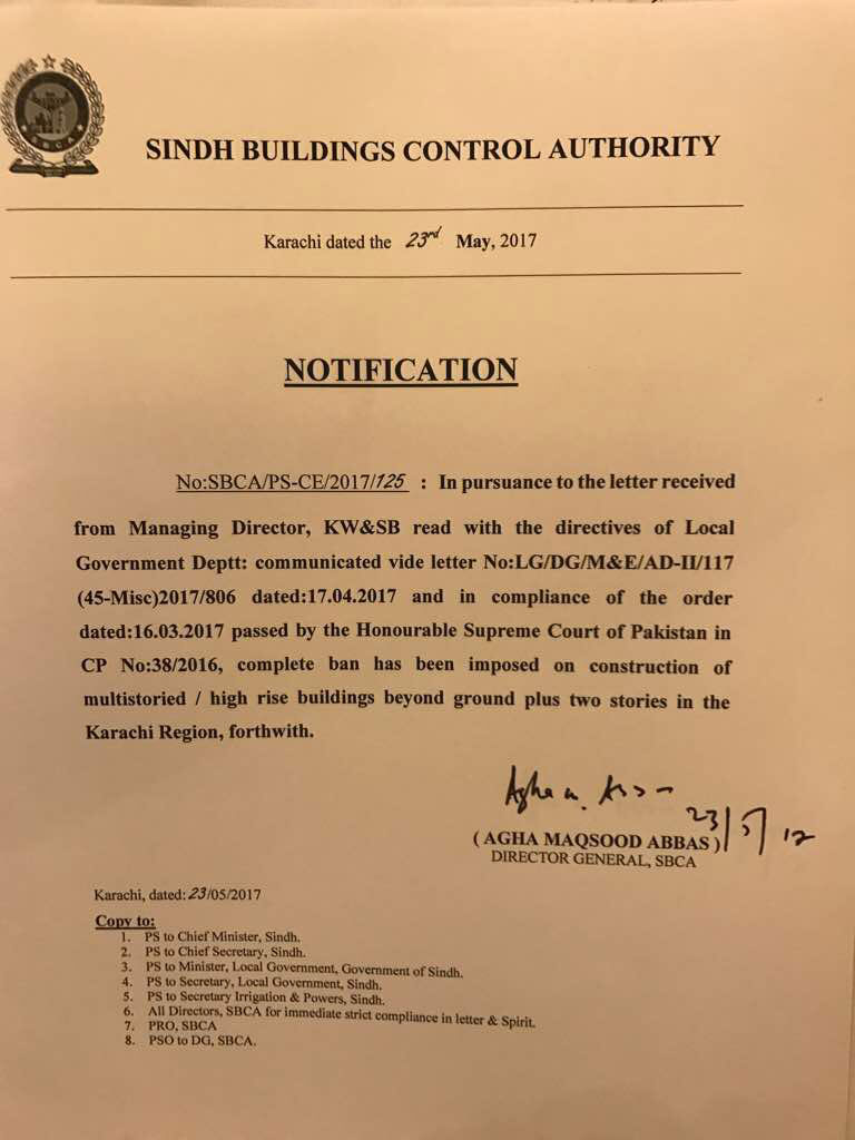 sbca karachi court buildings construction rise notice sindh imposes ban banned brandsynario seize earlier ordered certificates objection nocs issuance