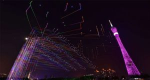 Guangzhou Sky Illuminated With Drones