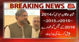RO Asks Former PM Abbasi To Submit Tax Details