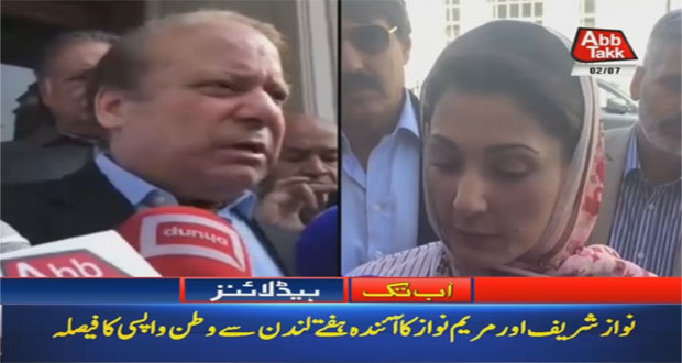 Nawaz, Maryam Decide to Return Pakistan Next Week