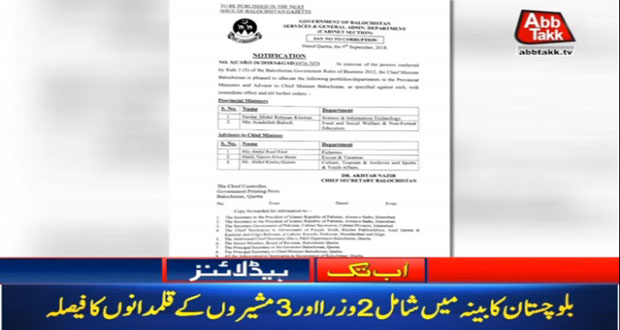 Portfolios Assigned To Five Balochistan Cabinet Members